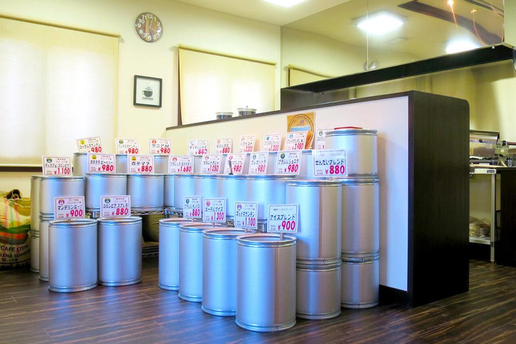 仙台市若林区の珈琲豆とカフェの内装例_店舗入口